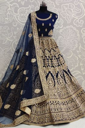 Blue Color Soft Net Embroidered Bridal Wedding Heavy Lehenga