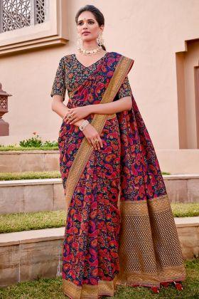 Blue Color Weaved Silk Wedding Saree Designs