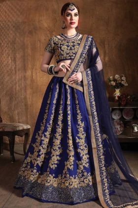 Blue Color Wedding Embroidery Designer Raw Silk Lehenga