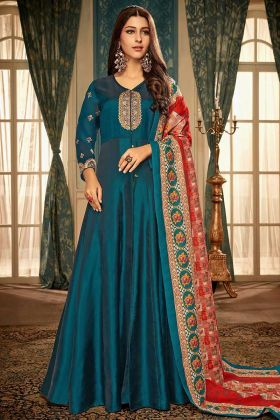 Blue Designer Readymade Gown Satin Georgette For Girls