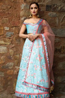 Blue Digital Printed Designer Lehenga Choli
