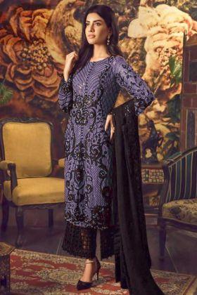 Blue Faux Georgette Palazzo Suit With Dupatta