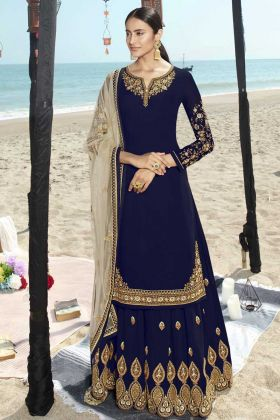 Blue Party Wear Faux Georgette Round Neck Sharara Dress