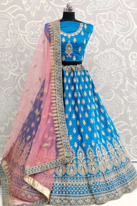 Blue Satin Silk Embroidered Semi Stitched Lehenga
