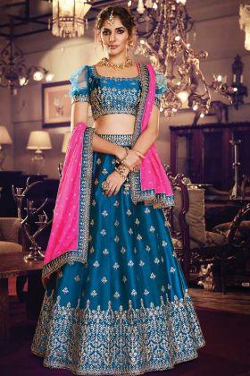 Blue Satin Silk Party Wear Lehenga Choli With Silk Georgette Dupatta