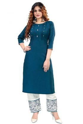 Blue Shade Color Heavy Ruby Cotton Kurti With Pant