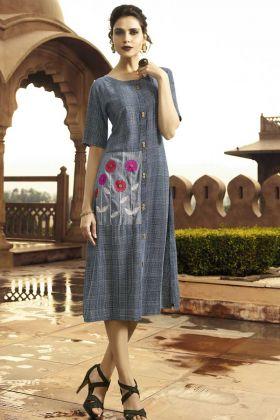Blue Thread Work Rayon Latest Kurti For Girls