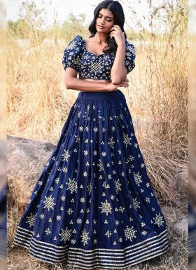 Blue Zari Embroidered Party Wear Lehenga Choli