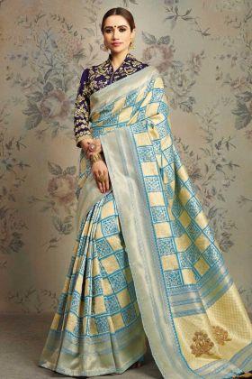 Blue and Cream Weaved Jacquard Silk Fancy Saree