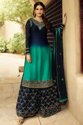 Blue and Green Color Satin Georgette Sharara Salwar Suit With Swarovski Diamond Work