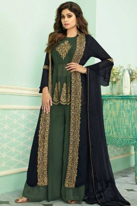 Blue and Green Real Georgette Jacket style Palazzo Suit