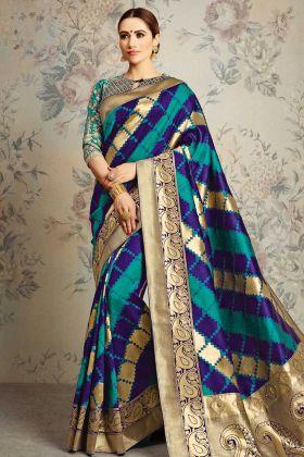 Blue and Green Wedding Saree