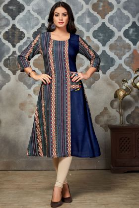 Blue and Multi Color Printed Kurti