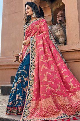 Blue And Pink Silk Jacquard Banarasi Saree For Wedding