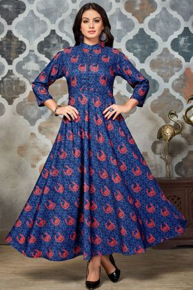 Blue and Red Polyester Printed Kurti