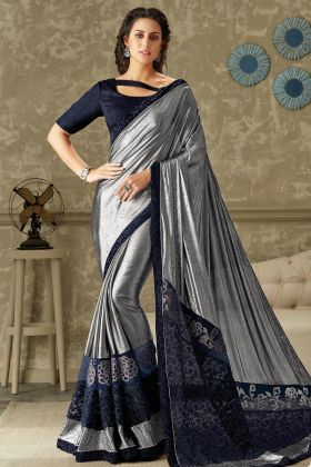Blue and Silver Lycra Fancy Saree