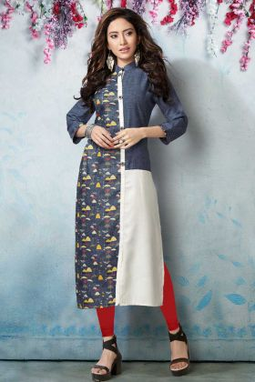 Blue and White Linen Designer Kurti