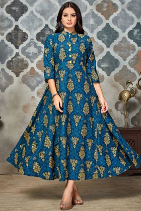 Blue and Yellow Polyester Printed Kurti