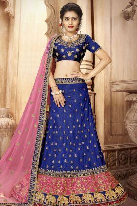 Blue Art Silk Wedding Lehenga Choli