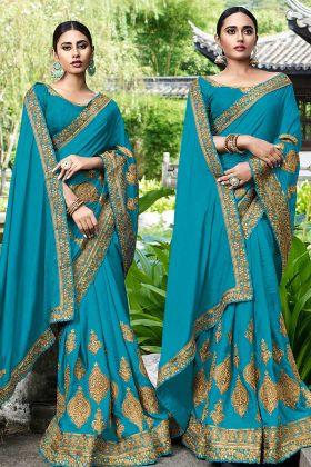 Blue Art Silk Zari Embroidered Saree For Wedding