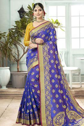 Blue Banarasi Art Silk Festive Saree Online