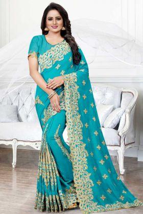 Blue Color Art Silk Embroidery Saree