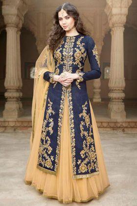 Blue Color Banglori Silk Indo Western Dress