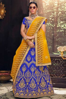 Blue Color Banglori Silk Reception Lehenga Choli With Heavy Zari Embroidery Work