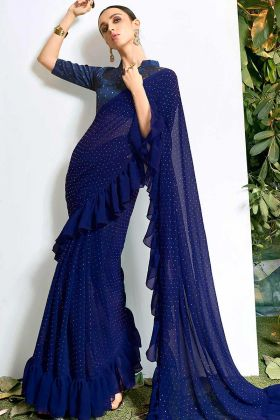 Blue Color Chiffon Bollywood Saree With Frill Pattern Stone Work