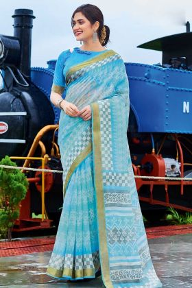 Blue Color Cotton Chiffon Casual Saree With Printed Work