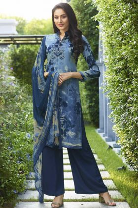 Blue Color Crepe Pakistani Dress With Georgette Dupatta