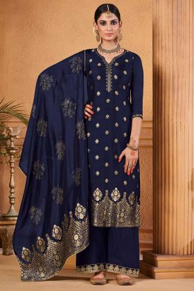 Blue Color Dola Jacquard Palazzo Salwar Suit With Jacquard Work