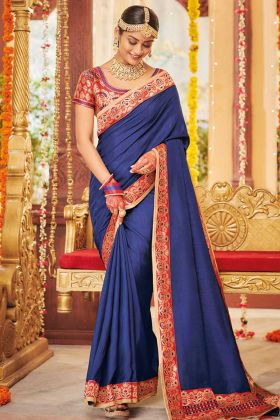Blue Color Dola Silk Party Wear Saree With Weaving Work
