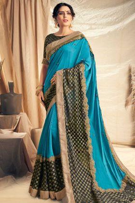 Blue Color  Dual Tone Satin Silk Saree With Zari Embroidery Work