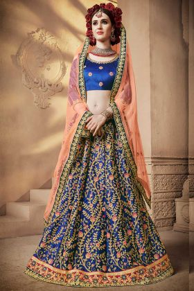 Blue Color Embroidery Work Satin Silk Wedding Lehenga Choli