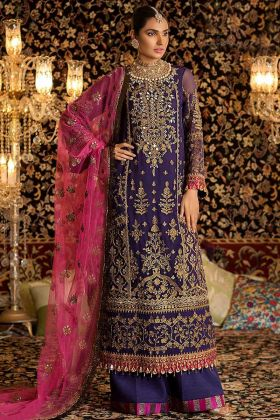 Blue Color Faux Georgette Palazzo Suit With Heavy Embroidery Work