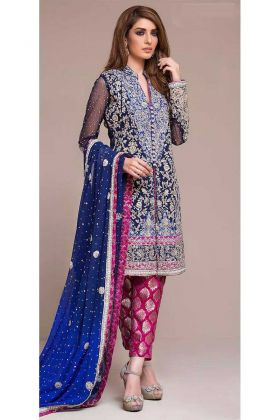 Blue Color Georgette Pakistani Suit With Embroidery Work