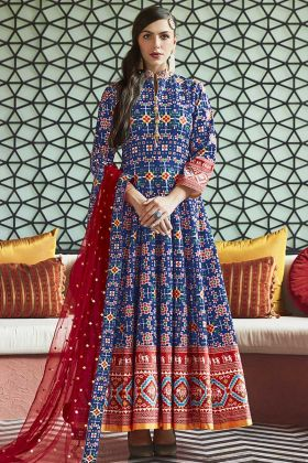 Blue Color Heavy Pure Killer Silk Anarkali Suit With Hand Work