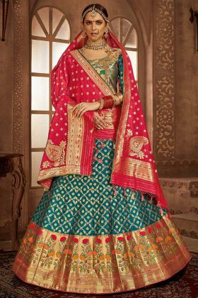 Blue Color Heavy Weaving Work Banarasi Silk Festival Lehenga Choli
