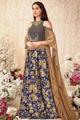 Blue Color Jacquard Velvet Festival Lehenga Choli With Cord Embroidery Work