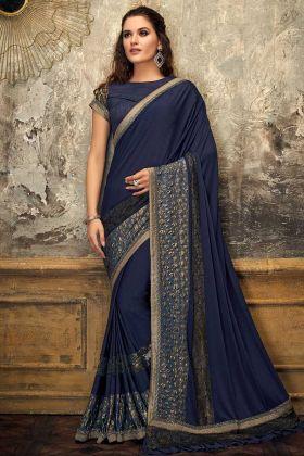 Blue Color Lycra Designer Saree In Jewel Lace