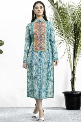 Blue Color Muslin Party Wear Kurti With Resham Embroidery Work