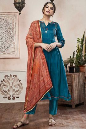 Blue Color Muslin Straight Salwar Kameez With Hand Work