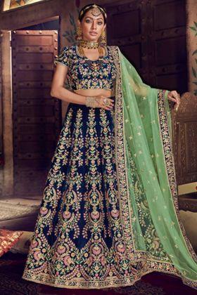 Blue Color Nakkashi Velvet Bridal Lehenga Choli