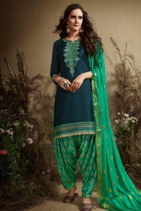 Blue Color Punjabi Salwar Kameez