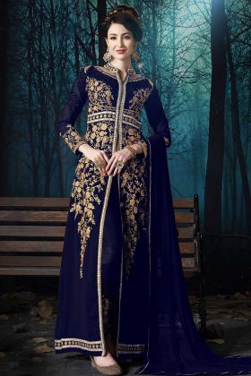 Blue Color Pure Faux Georgette Pant Style Suit With Pure Chiffon Dupatta