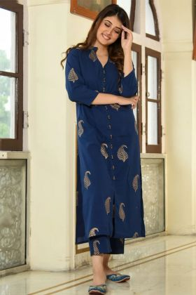Blue Color Rayon Designer Palazzo Kurti Set With Foil Print Work