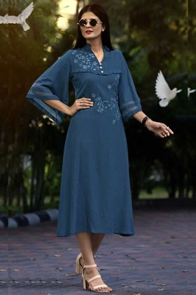 Blue Color Rayon Kurti With Thread Embroidery Work