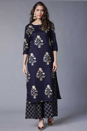 Blue Color Rayon Party Wear Palazzo Kurti Set
