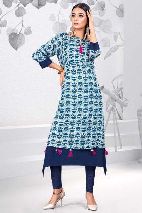 Blue Color Rayon Stylish Kurti With Printed Work